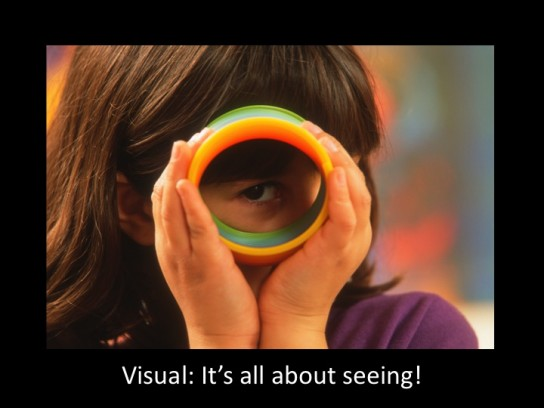 girl looks through a circle to communicate: Visual - it's all about seeing