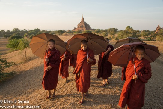 Bagan, Burma, Myanmar. Hill Near #820 Temple and Buddhist Monk Novices.